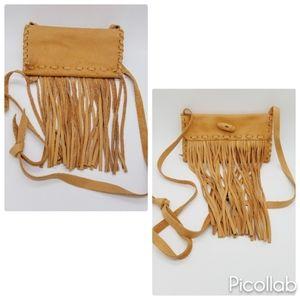 Handbags - Genuine Cowhide Leather Fringe Crossbody in Tan